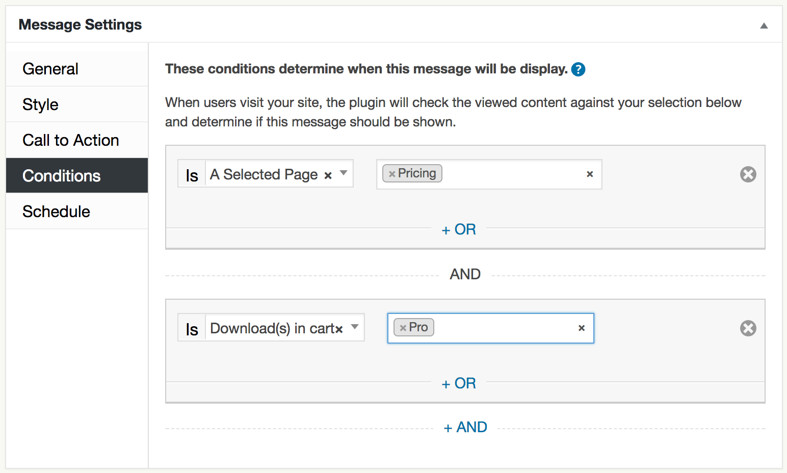 Audience Targeting Conditions Editor