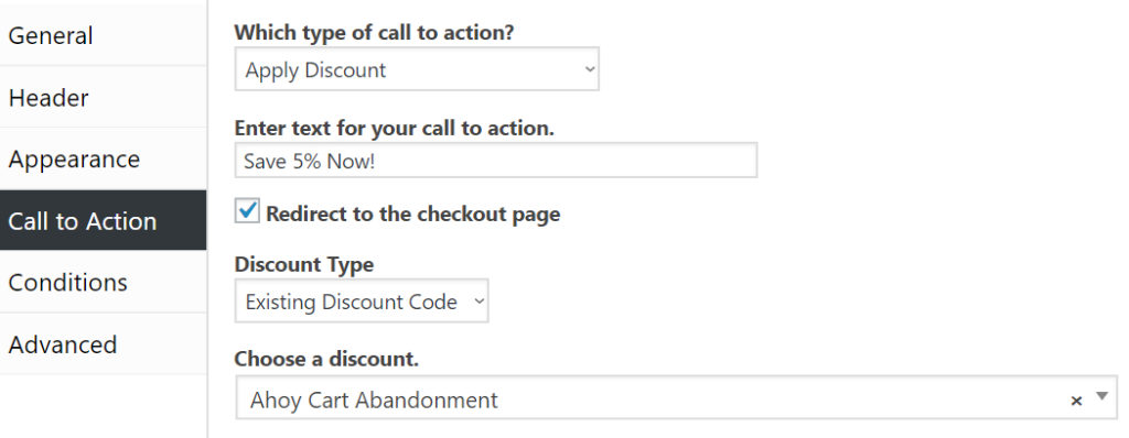 "Screenshot of call to action settings with ""Which type of call to action?"" set to ""Apply Discount"" and text set to ""Save 5% Now!""."
