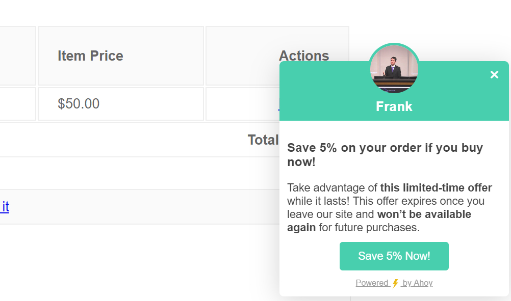 "Screenshot of the final Ahoy message that includes author name, the headline, the text, and the ""Save 5% Now"" button."