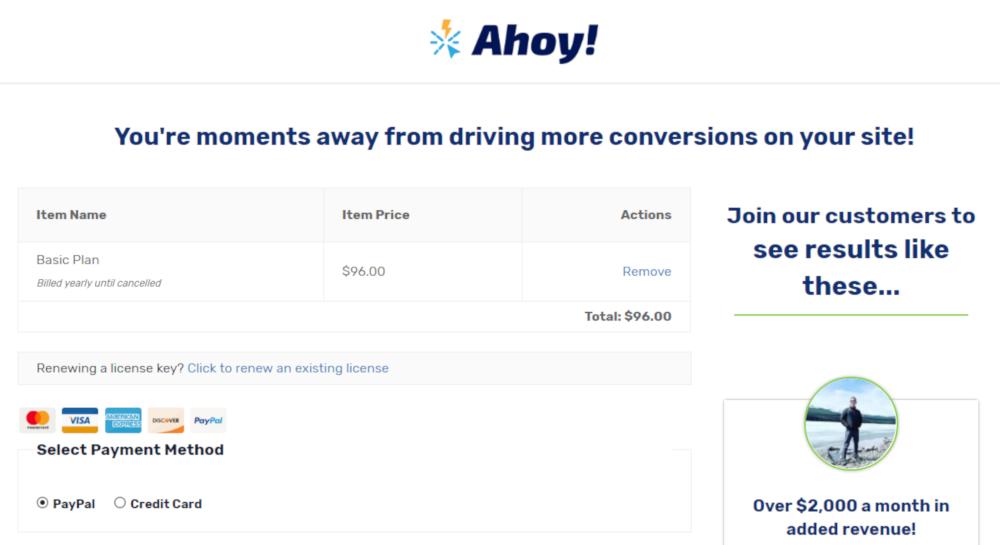 Screenshot of Ahoy's checkout page showing no navigation