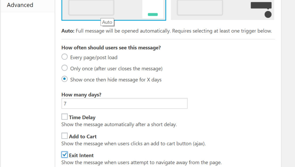 "Screenshot of the general settings showing ""How often should users see this message"" set to ""Show once then hide message for X days""."