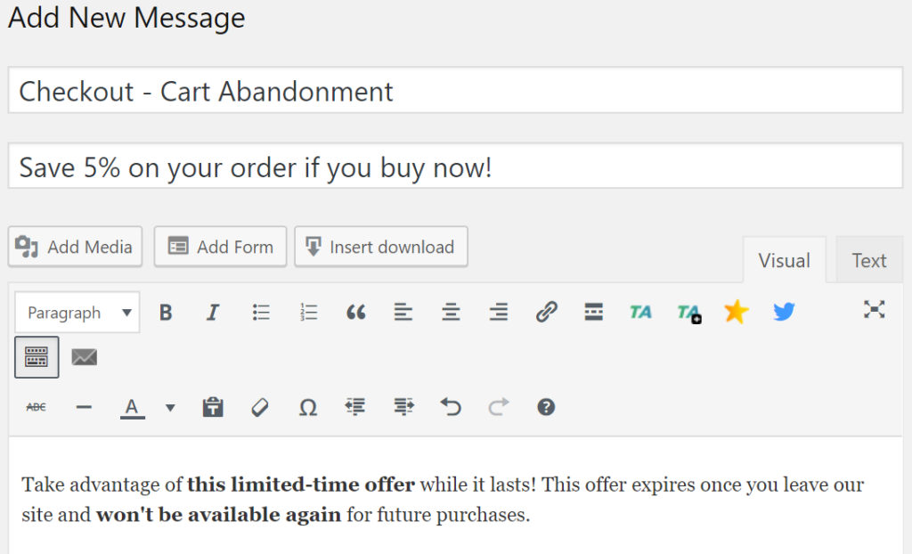 "Screenshot of Ahoy editor with title set to ""Checkout - Cart Abandonment"" and Headline set to ""Save 5% on your order if you buy now!""."