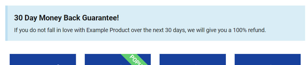 "Screenshot showing a ""30-day money back guarantee"" message."