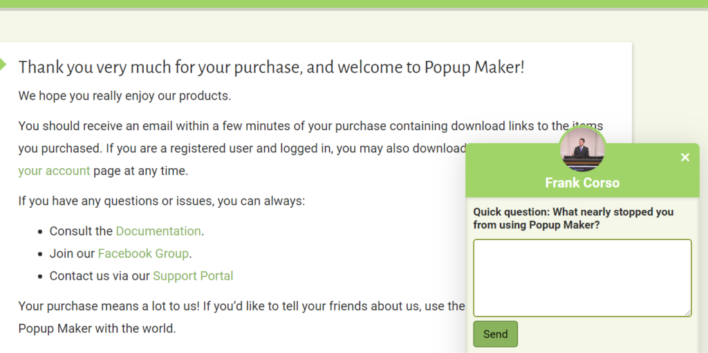 Screenshot of a purchase page with a small widget in the bottom right corner asking a single question.