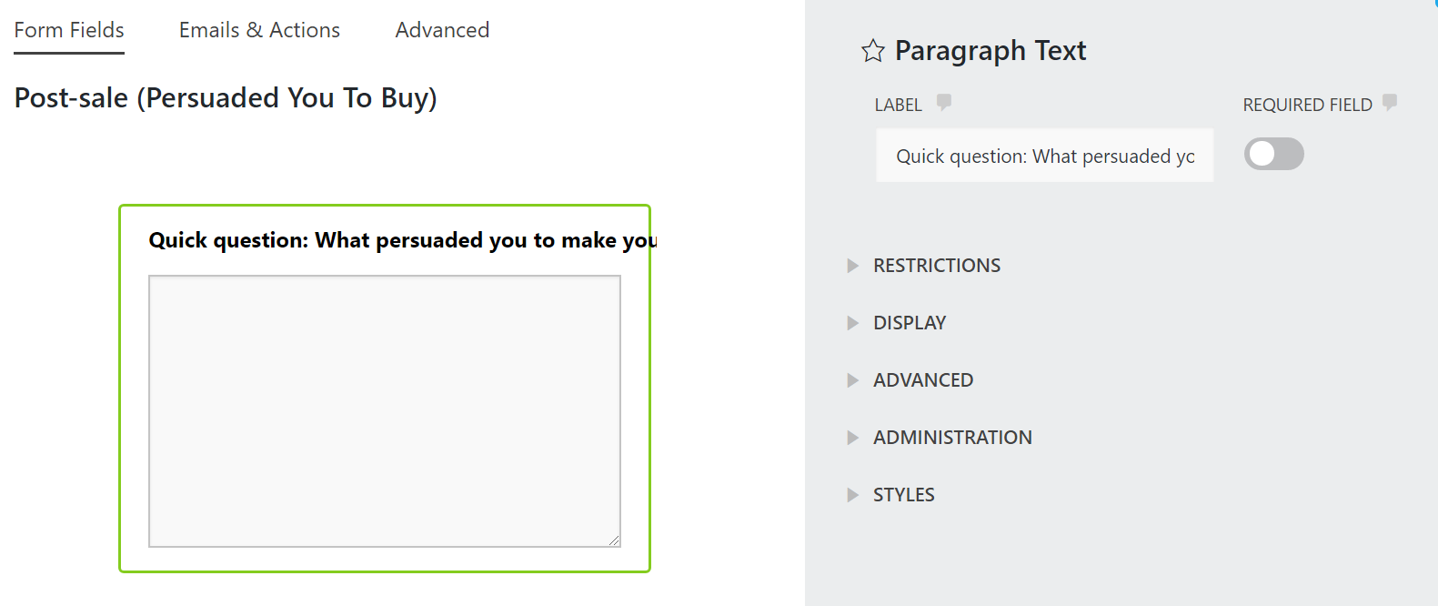 Settings for a paragraph text field in Ninja Forms