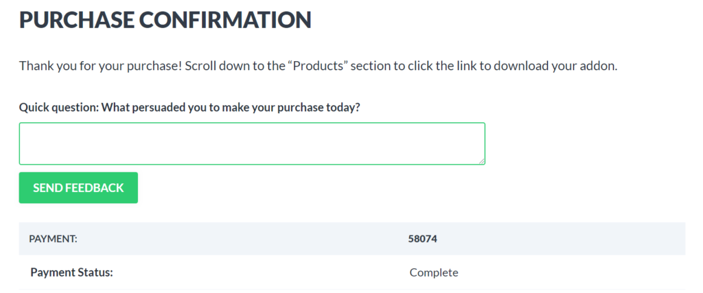 Screenshot of a purchase confirmation page with a single question survey appearing near the top of the page.