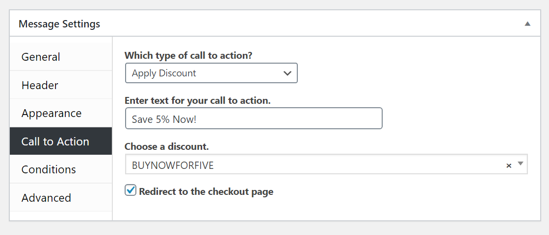 """Ahoy call to action settings with """"Apply Discount"""" selected for the type."""