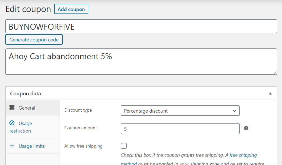 Edit screen for coupons in WooCommerce with coupon and description filled in and type set to percentage discount.