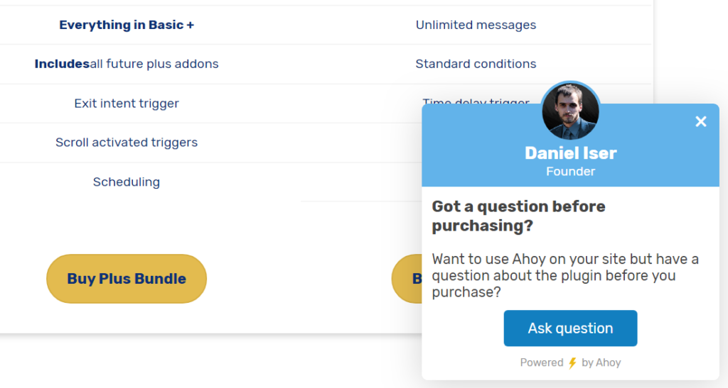 "Example widget created with Ahoy that appears in the lower-right of the pricing page asking if the visitor has ""Got a question before purchasing?"""