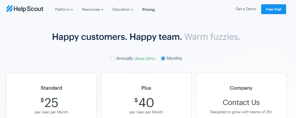 "HelpScout's pricing page with headline that says ""Happy customers. Happy team. Warm fuzzies."""